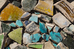 Archaeological finds - shards of ancient pottery. Vessels Stock Photos