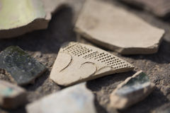 Archaeological finds - shards of ancient pottery. Vessels Royalty Free Stock Photos