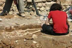 archaeological forskning Arkivfoton
