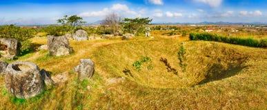The Plain of jars. Laos. Panorama Stock Photos