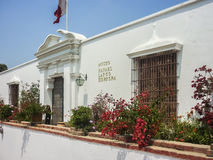 Archaeological Larcomar Museum in Lima Peru. Exterior view of archaeological museum Rafael Larco Herrera which displays galleries showing 3000 years of Royalty Free Stock Image