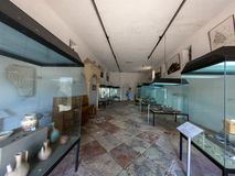 Archaeological museum in historical buildings of Ulcinj old town, Montenegro. stock photo