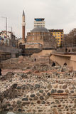 Archaeological museum of Serdica ruins and Banya Bashi Mosque in Sofia, Bulgaria Royalty Free Stock Image