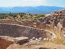 Ruins at the ancient city of Mycenae in Greece. The archaeological park at the ancient city of Mycenae in Greece Royalty Free Stock Photography