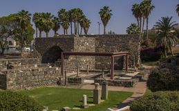 Archaeological Park in  in the city's center of Tiberias on sh Royalty Free Stock Photo