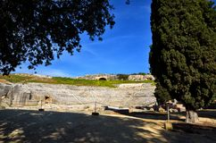 Ancient Greek theater in Syracuse Neapolis, Sicily, Italy Royalty Free Stock Images