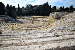 Ancient Greek theater in Syracuse Neapolis, Sicily, Italy Stock Photography