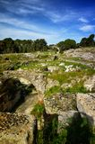 Ruins of the Roman amphitheater in Syracuse Neapolis Royalty Free Stock Image