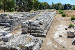 Archaeological Park Neapolis with temple of Zeus at Syracusa, Sicily Stock Images