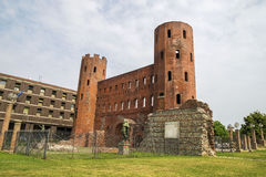 Archaeological Park with Palatine towers,Turin Stock Image