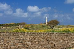 Archaeological Park Paphos, Cyprus. View of the Lighthouse Stock Photo