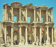 Archaeological remains of the old library at Ephesus, Anatolia; retro style Stock Photography