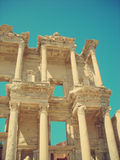 Archaeological remains of the old library at Ephesus, Anatolia; retro style Stock Photos