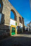 Archaeological remains of a Roman aqueduct. Evora, Alentejo. Portugal. Stock Photos