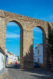 Archaeological remains of a Roman aqueduct. Evora, Alentejo. Portugal. Stock Image