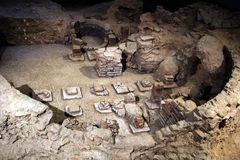 Archaeological remains of Roman walls and buildings uncovered un Royalty Free Stock Images