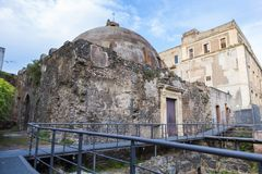 Archaeological remains from Terme della Rotonda. Roman thermal baths from Catania, Italy stock photos