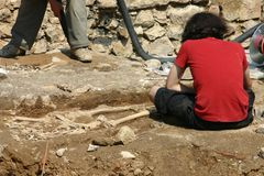 Archaeological research. In France stock photos