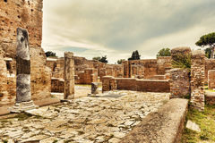 Archaeological Roman  landscape in Ostia Antica - Rome. Italy Royalty Free Stock Images