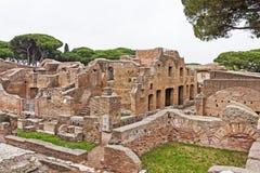 Archaeological Roman site landscape in Ostia Antica - Rome - Ita Stock Photos
