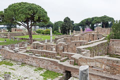 Archaeological Roman site landscape in Ostia Antica - Rome - Ita Royalty Free Stock Photos