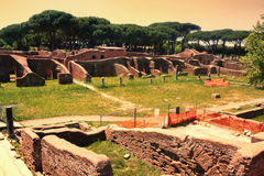 Archaeological Roman site sunset landscape in Ostia Antica Royalty Free Stock Photography