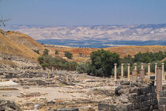 View of the Sea of Galilee behind the Archaeological Ruins of Beit She`an located in Israel Stock Photos