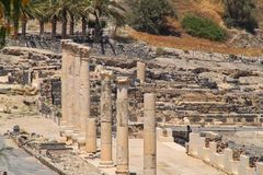 Row of Columns Line a Cardo Archaeological Ruins of Beit She`an located in Israel Stock Images