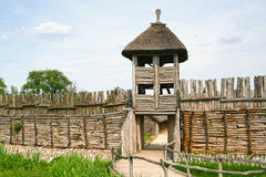 Archaeological settlement in Biskupin. Entrance. Stock Photography
