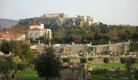 Archaeological site with Acropolis hill Royalty Free Stock Photography