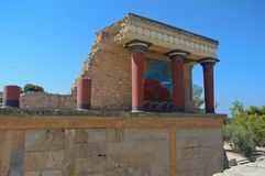 The archaeological site of the ancient Minoan Palace of Knossos in Crete, Greece stock photography