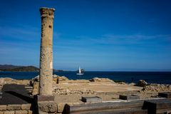 Archaeological site. Ancient column view Royalty Free Stock Photo