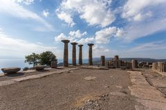 Archaeological site at Assos, Turkey. Assos a UNESCO World Heritage site in Turkey built in biblical times by the Greeks on the Biga Peninsula near the village royalty free stock image
