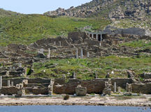 Archaeological Site of Delos as seen from the ferry, Delos Island, Greece Stock Photo