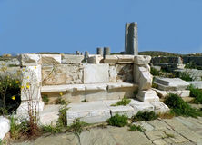 Archaeological Site of Delos, Impressive UNESCO World Heritage Site on Delos Island, Greece Stock Images