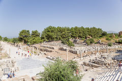 Archaeological site of Ephesus, Turkey. Port Street and gymnasiums (bath with playground) Royalty Free Stock Photography