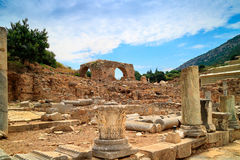 Archaeological site of Ephesus in Turkey. Ruins of brothel, view from Kuretes Street at the ancient Archaelogical site of Ephesus in Turkey Royalty Free Stock Photos
