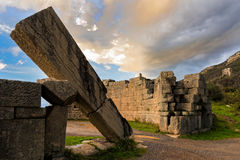 Archaeological site in Greece. The famous Arcadian Gate in the archaeological site of ancient Messene in Peloponnese, Greece Royalty Free Stock Images