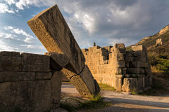 Archaeological site in Greece. The famous Arcadian Gate in the archaeological site of ancient Messene in Peloponnese, Greece Stock Image