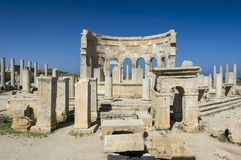 The ruins of Leptis Magna. Archaeological site of Leptis Magna, Libya - 10/30/2006: The Marketplace in the ancient Roman city of Leptis Magna royalty free stock photo