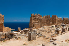 Archaeological site of Lindos Castle in Rhodes. Royalty Free Stock Photo