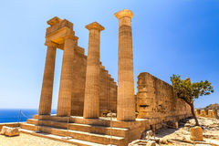 Archaeological site of Lindos Castle in Rhodes. Stock Images