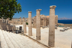 Archaeological site of Lindos Castle in Rhodes. Stock Photography