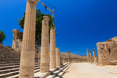 Archaeological site of Lindos Castle in Rhodes. Royalty Free Stock Image