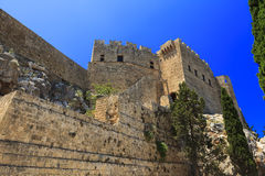 Archaeological site of Lindos Castle in Rhodes. Royalty Free Stock Images