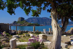 Archaeological site on a Mediterranean beach Royalty Free Stock Photography