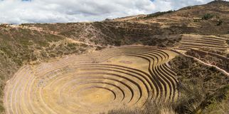 The archaeological site at Moray, travel destination in Cusco region and the Sacred Valley, Peru. Majestic concentric terraces, su