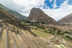 The archaeological site at Ollantaytambo, Inca city of Sacred Valley, major travel destination in Cusco region, Peru. Stock Images