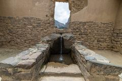 The archaeological site at Ollantaytambo, Inca city of Sacred Valley, major travel destination in Cusco region, Peru. Royalty Free Stock Photography