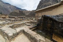 The archaeological site at Ollantaytambo, Inca city of Sacred Valley, major travel destination in Cusco region, Peru. Royalty Free Stock Photo